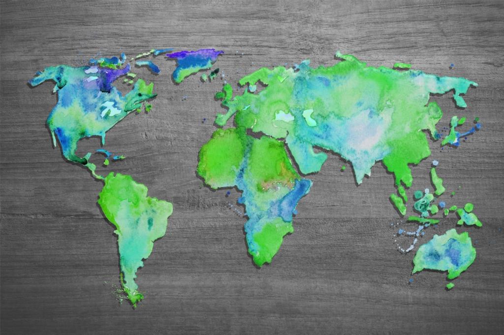 Obraz Mapa světa zelená, 90x60 cm