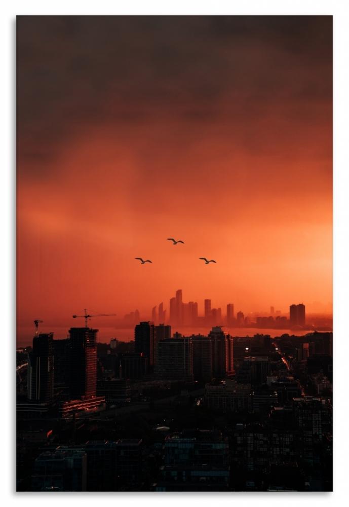 Obraz Město v červeném, 40x60 cm