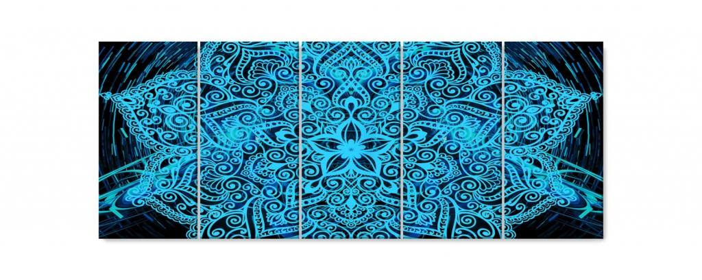 Obraz Modrá mandala v prostoru, 150x60 cm