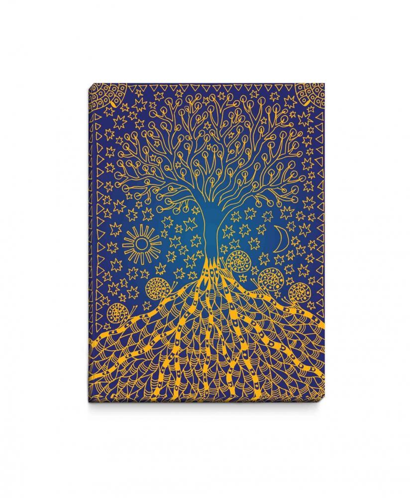 Obraz Modro-zlatý kouzelný strom, 90x60 cm