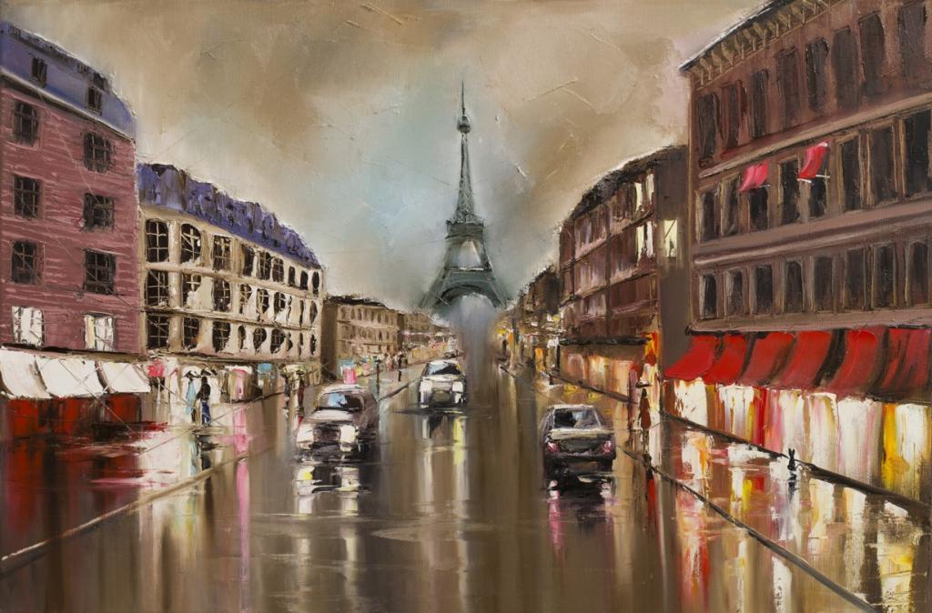 Obraz Paříž za deště, 120x80 cm