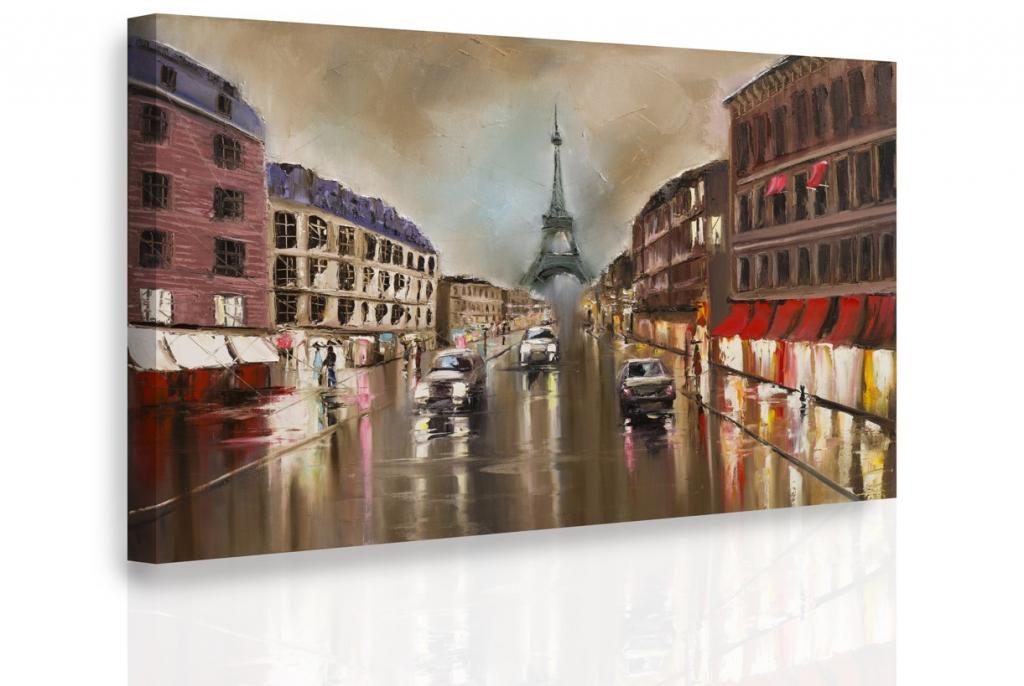 Obraz Paříž za deště 90x60 cm