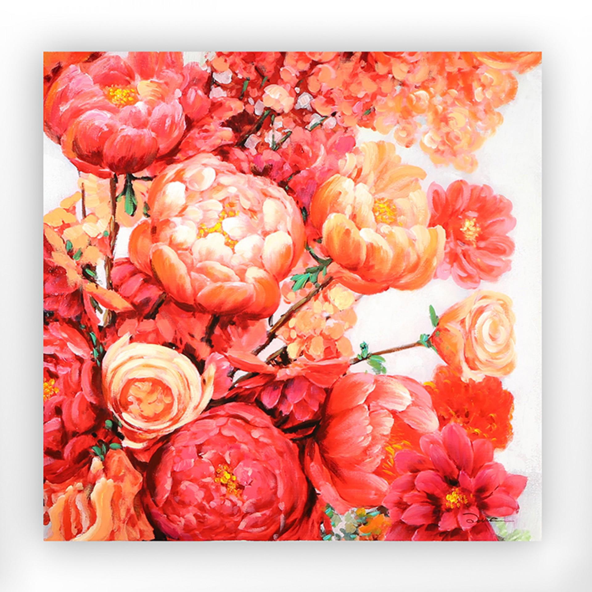 Obraz Pivoňky, 90 cm, akryl na plátně