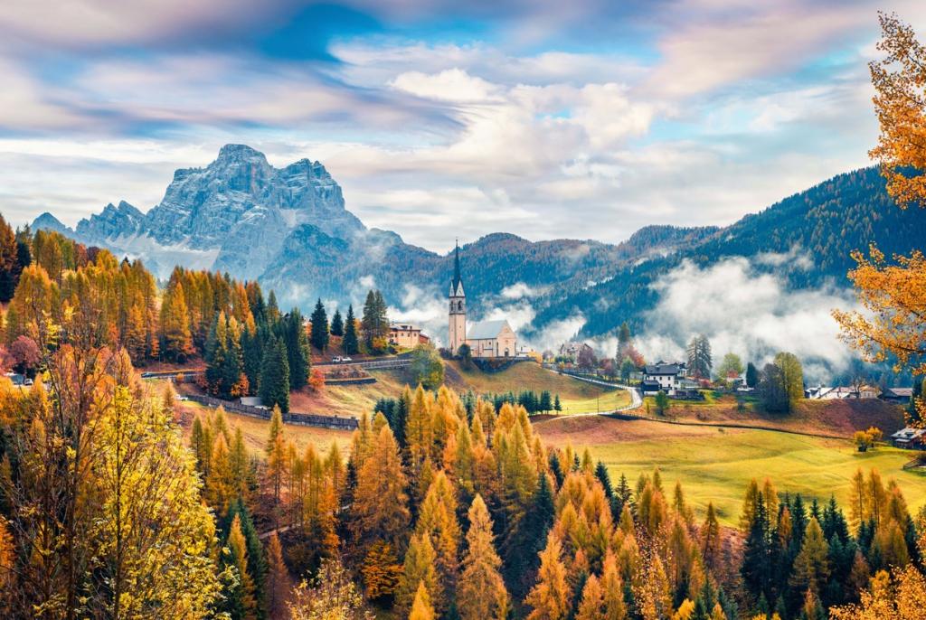 Obraz Podzimní vesnice, 150x100 cm
