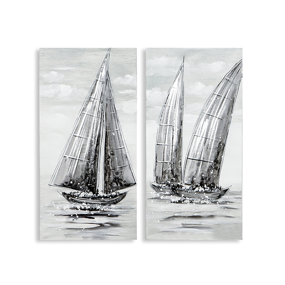 Obraz Regatta 60 cm, olej na plátně, sada 2 ks