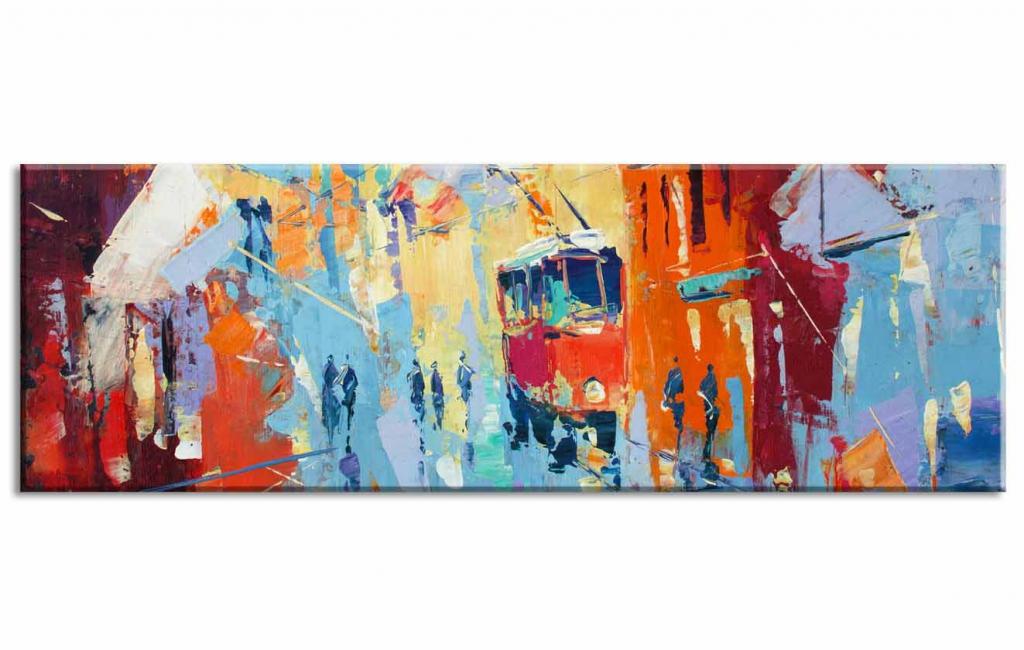 Obraz reprodukce Městský ruch, 120x40 cm