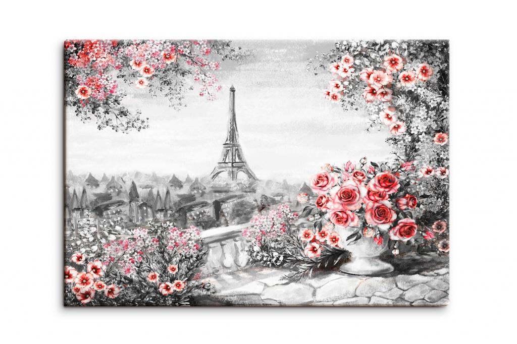 Obraz reprodukce Paříž s růžemi, 150x100 cm