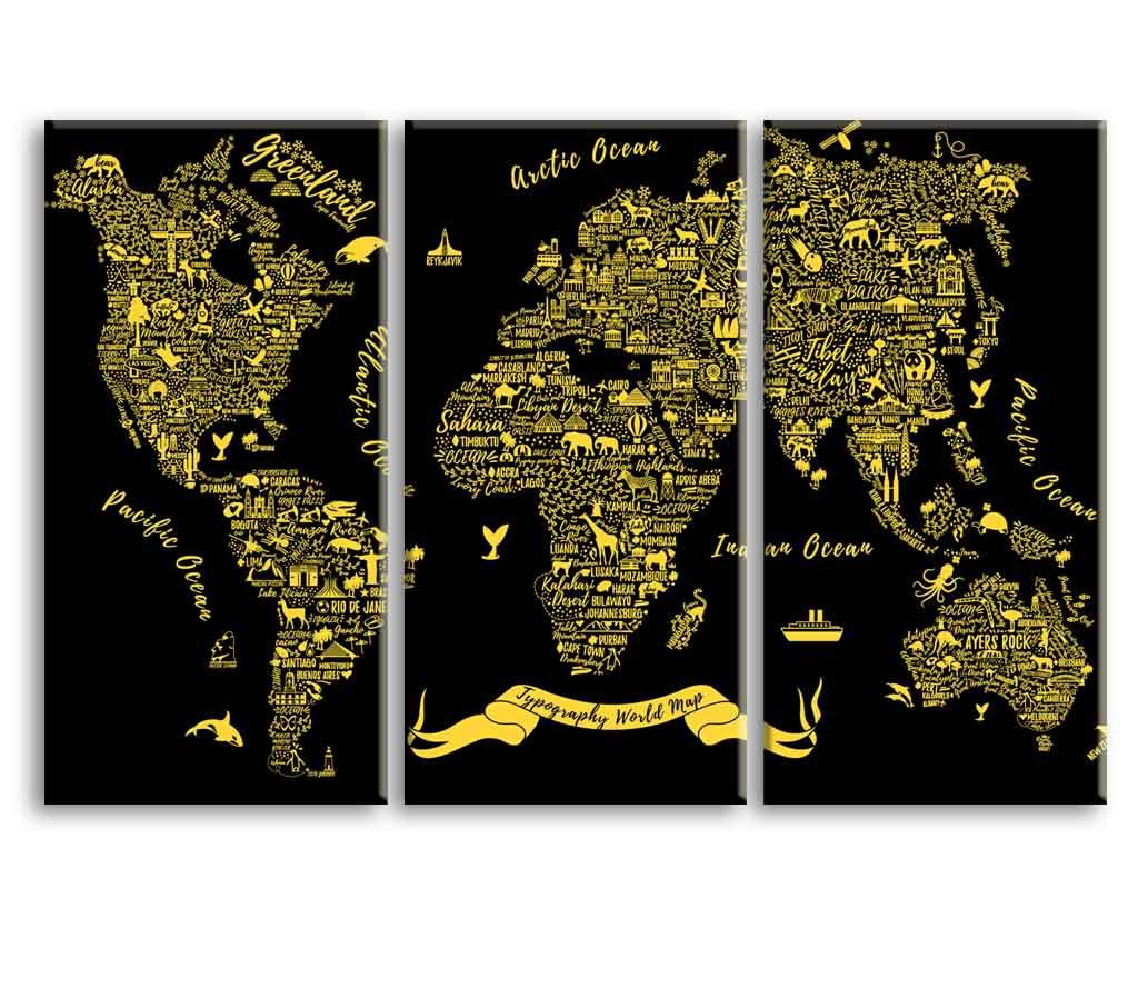 Obraz Typografická mapa světa, 120x80 cm