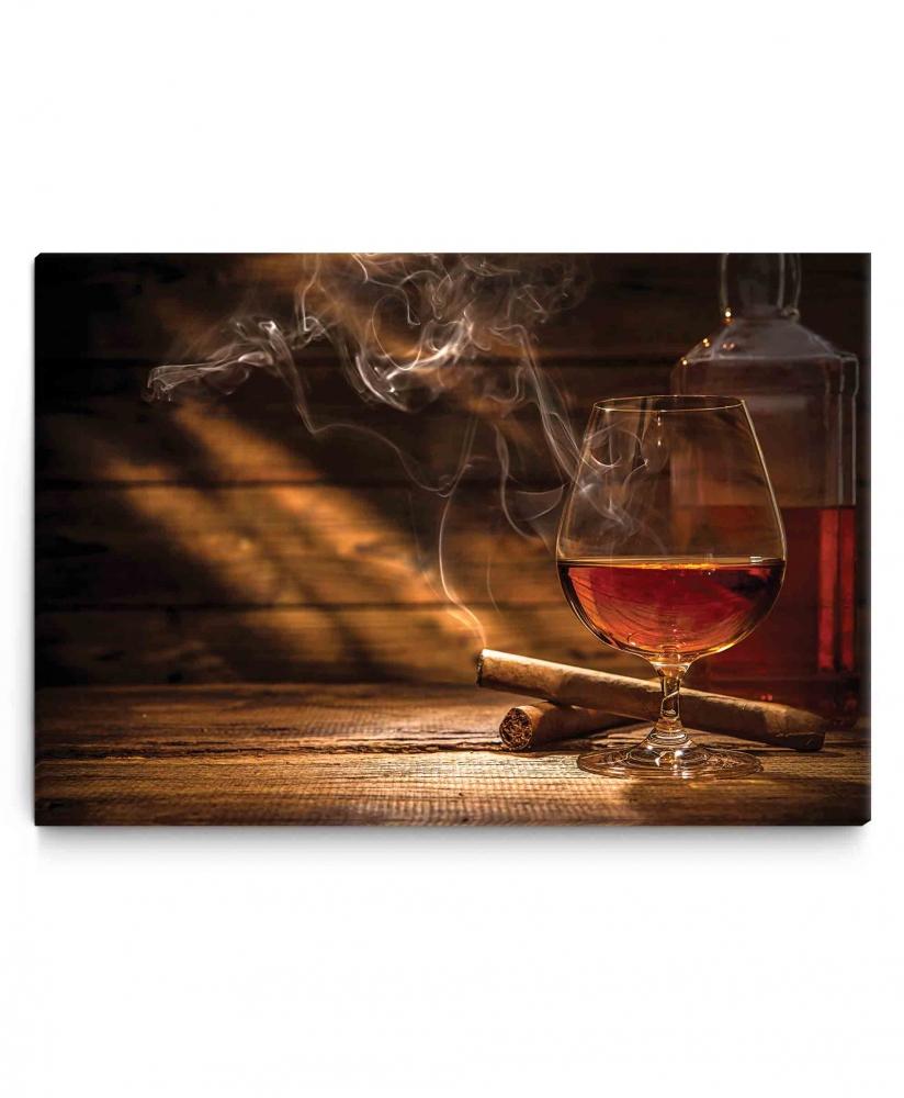 Obraz Whiskey a doutník, 120x80 cm