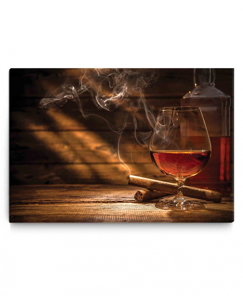 Obraz Whiskey a doutník, 90x60 cm