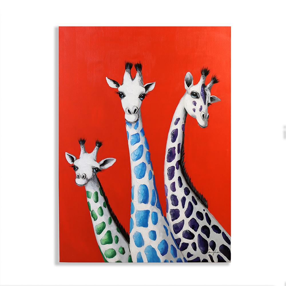 Obraz Žirafy 100 cm, olej na plátně