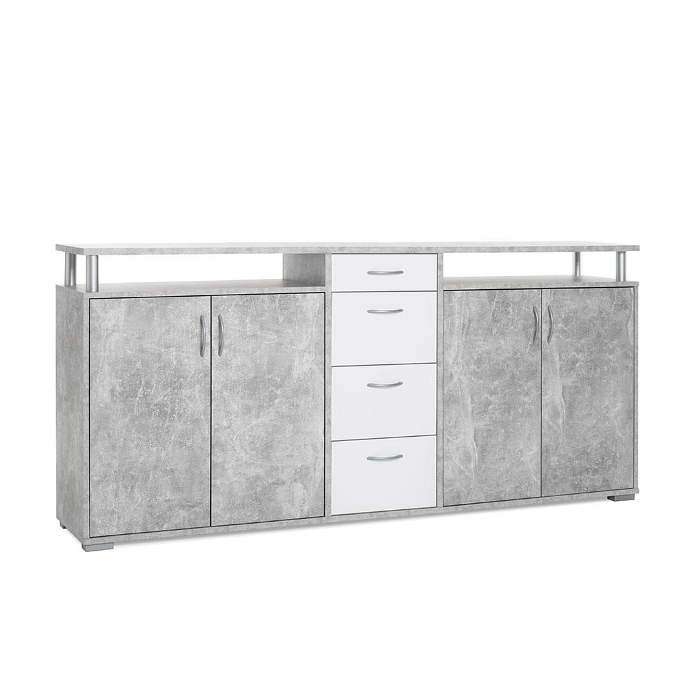 Odkládací / kombinovaná skříň Heavy, 208 cm, beton/bílá