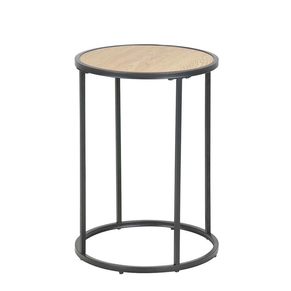 Odkládací / noční stolek kulatý Seashell, 40 cm, dub