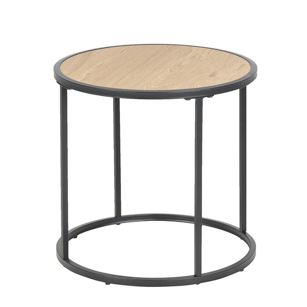 Odkládací / noční stolek kulatý Seashell, 45 cm, dub