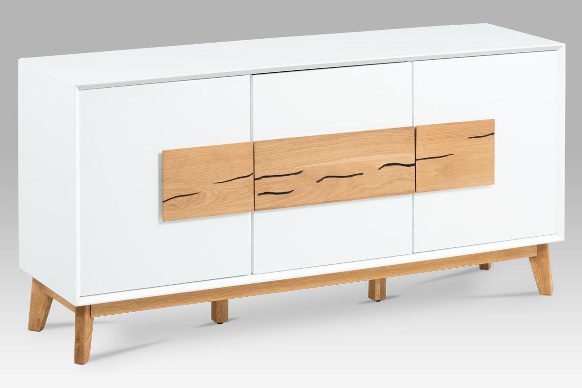 Odkládací skříň s dveřmi Kristen, 150 cm, bílá/dub