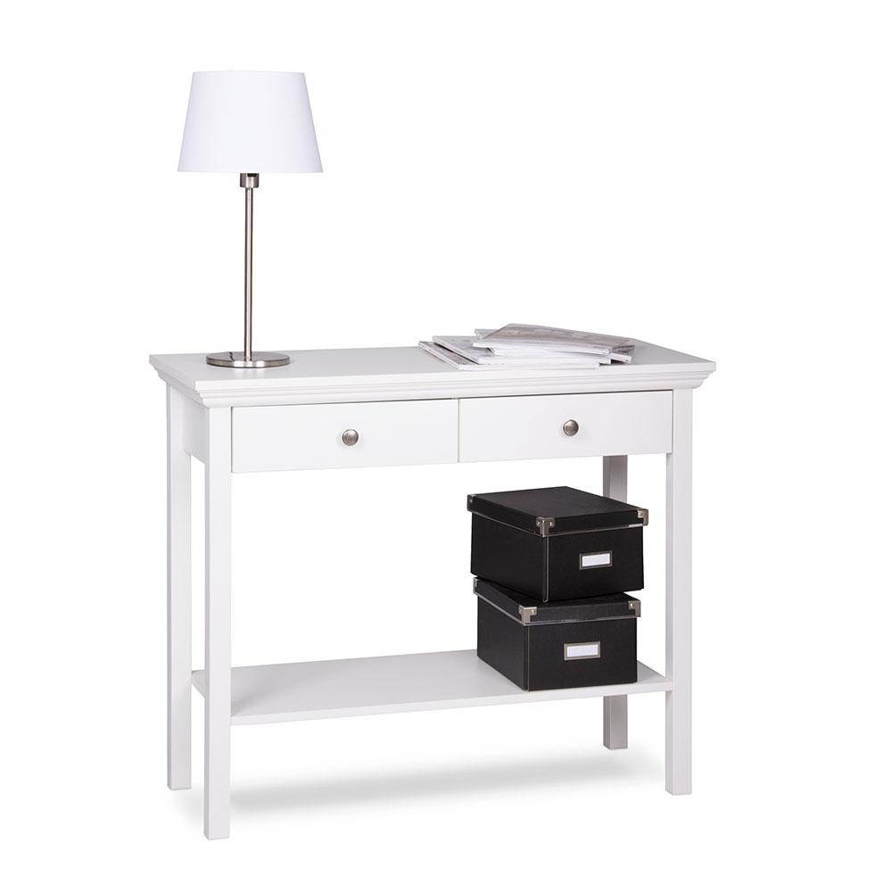 Odkladací stôl so zásuvkami Country, 75 cm, biela