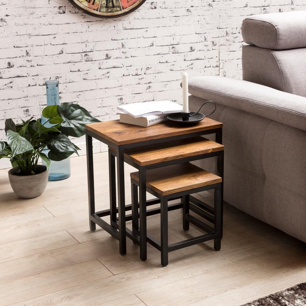 Odkládací stolek Alea (SADA 3 ks), 45 cm, masiv Sheesham