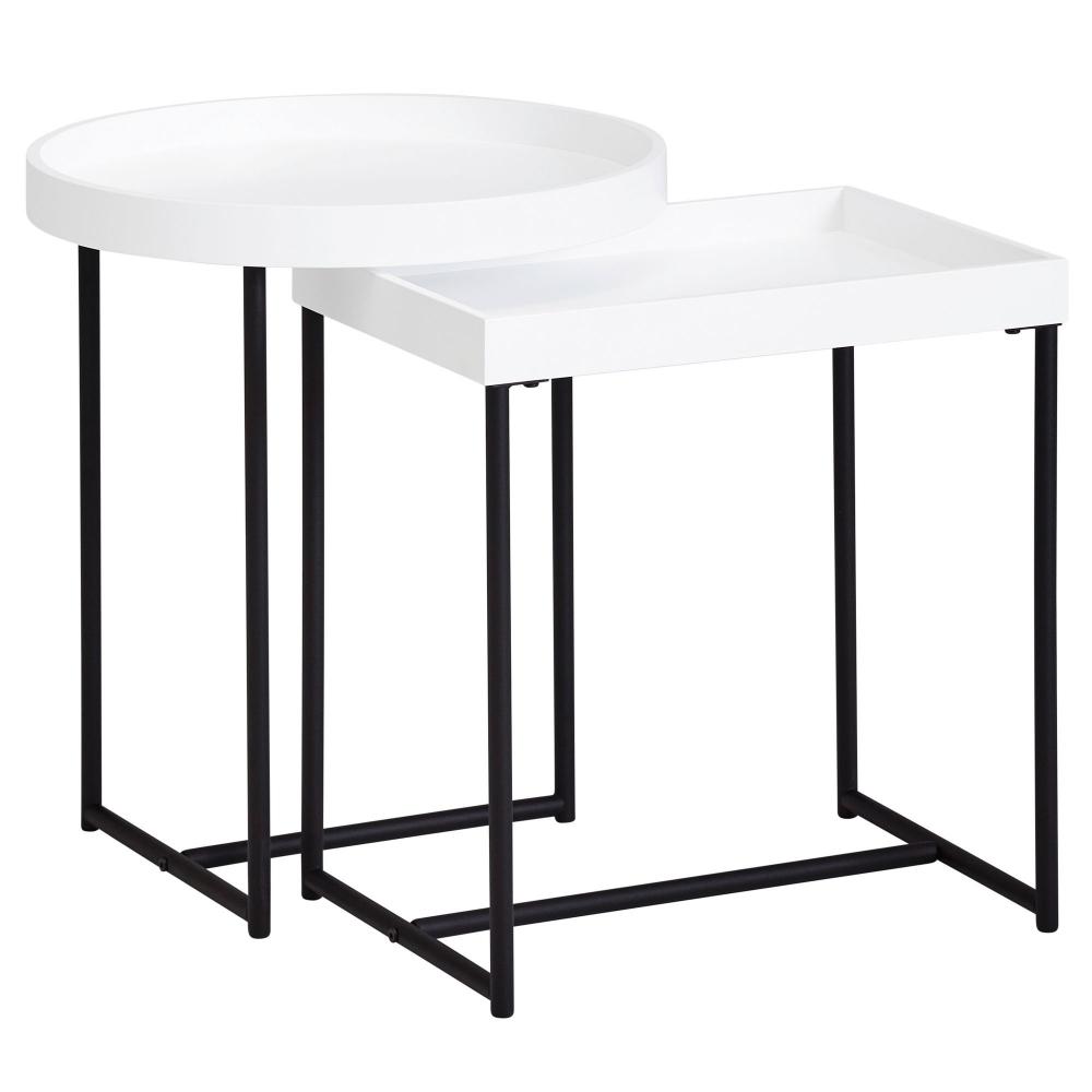 Odkládací stolek Allan (SADA 2 ks), bílá