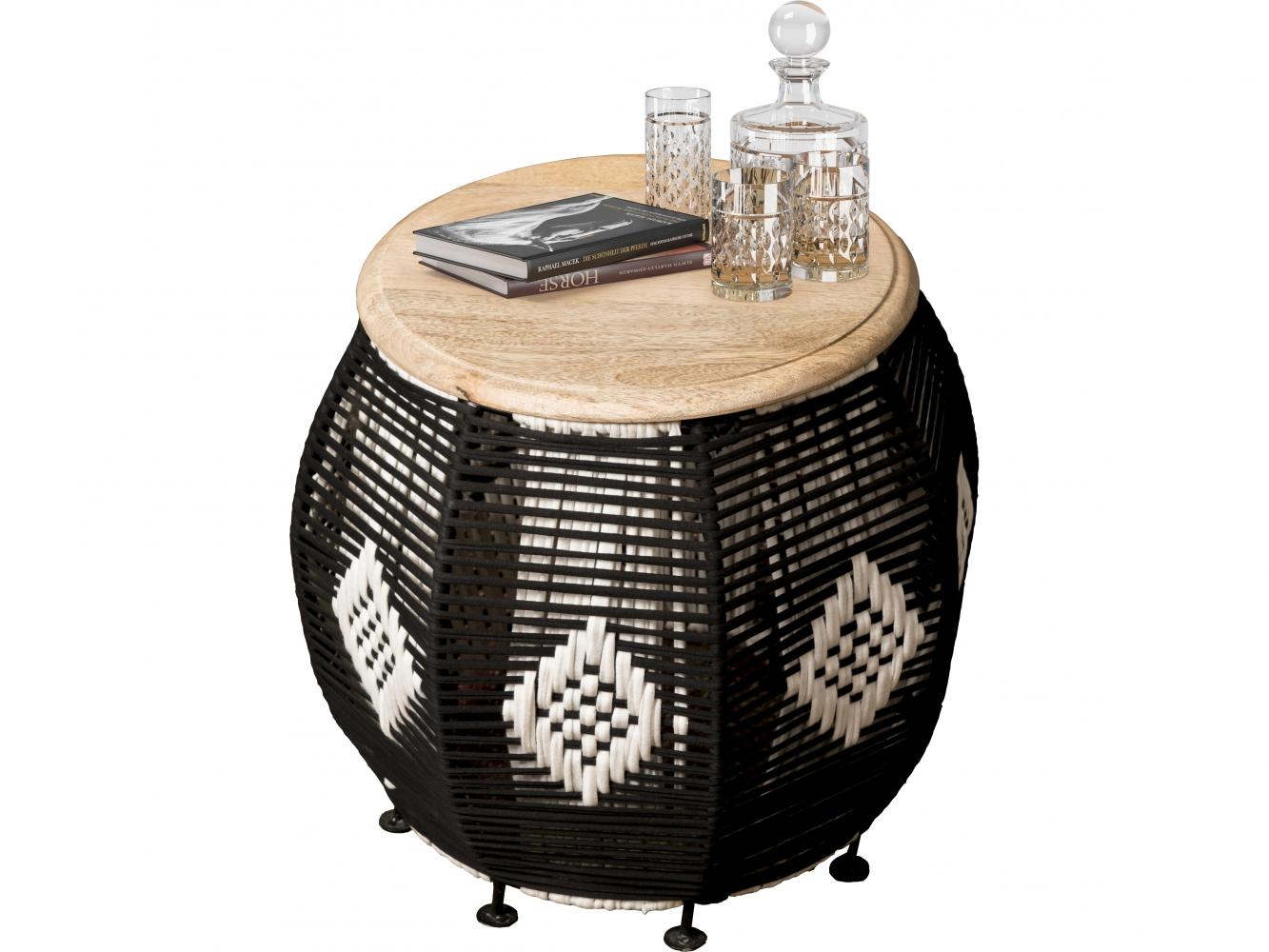 Odkládací stolek Ario, 43 cm, hnědá / černá