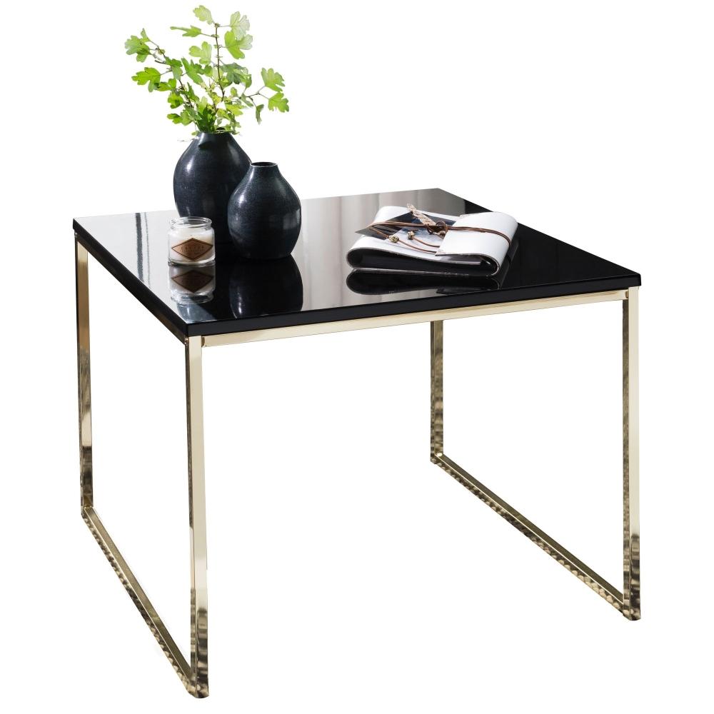 Odkládací stolek Bisa, 60 cm, černá / zlatá