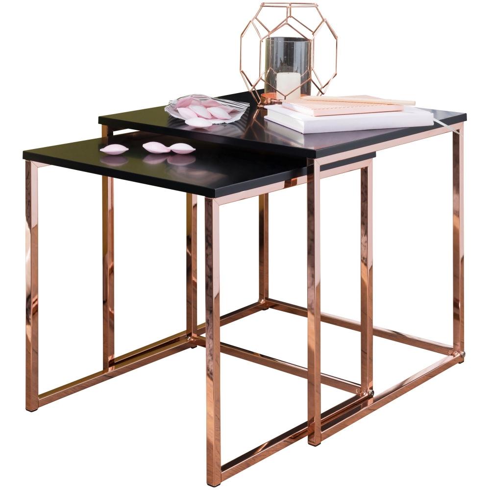 Odkládací stolek Bisa (SADA 2 ks), černá / měděná