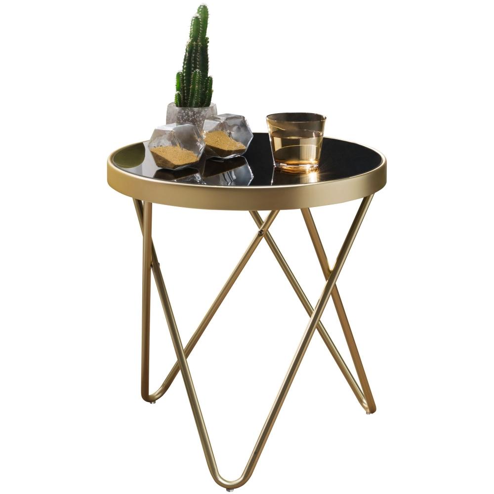 Odkládací stolek Cala, 46 cm, černá / zlatá