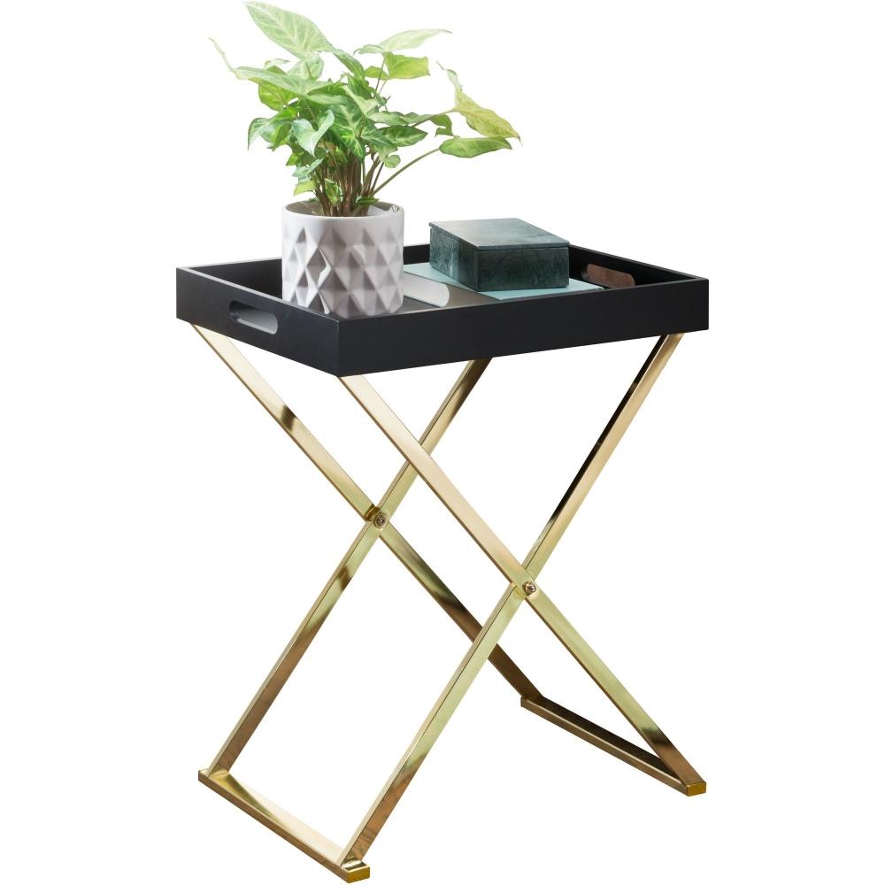 Odkládací stolek Dara, 61 cm, černá / zlatá
