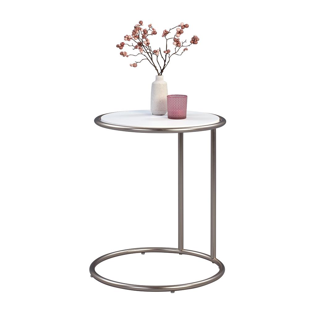 Odkládací stolek Dexter, 45 cm, nerez/bílá