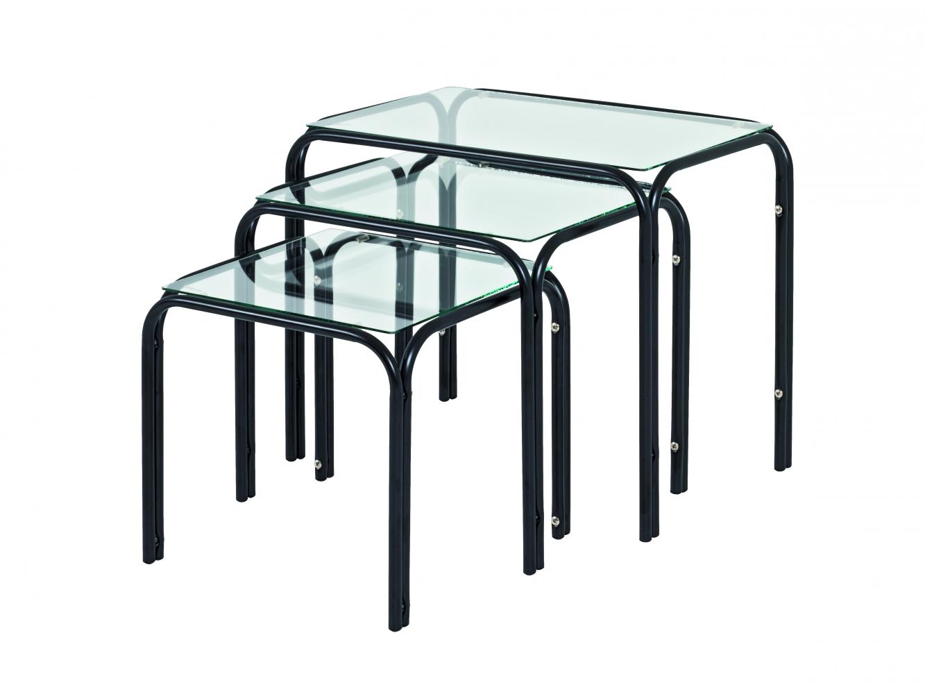Odkládací stolek Elin, set 3 kusů, černá / čirá