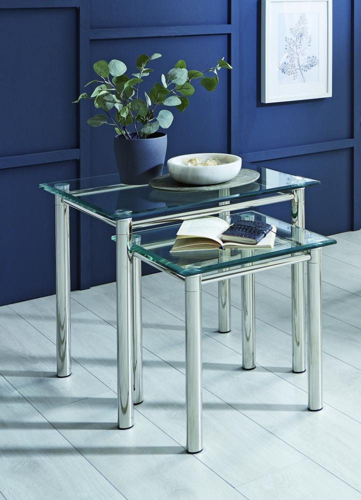 Odkládací stolek Embu, 42 cm, čiré sklo