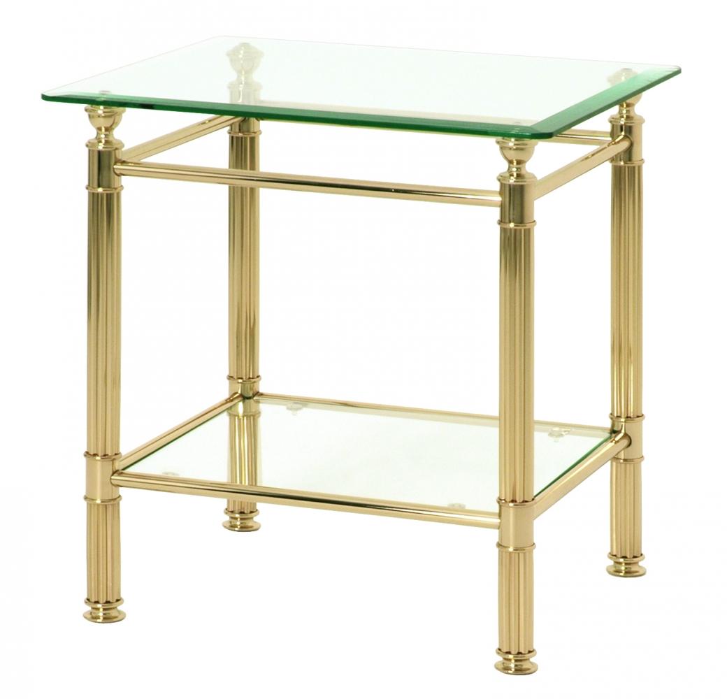 Odkládací stolek Enar II., 53 cm, zlatá / čirá