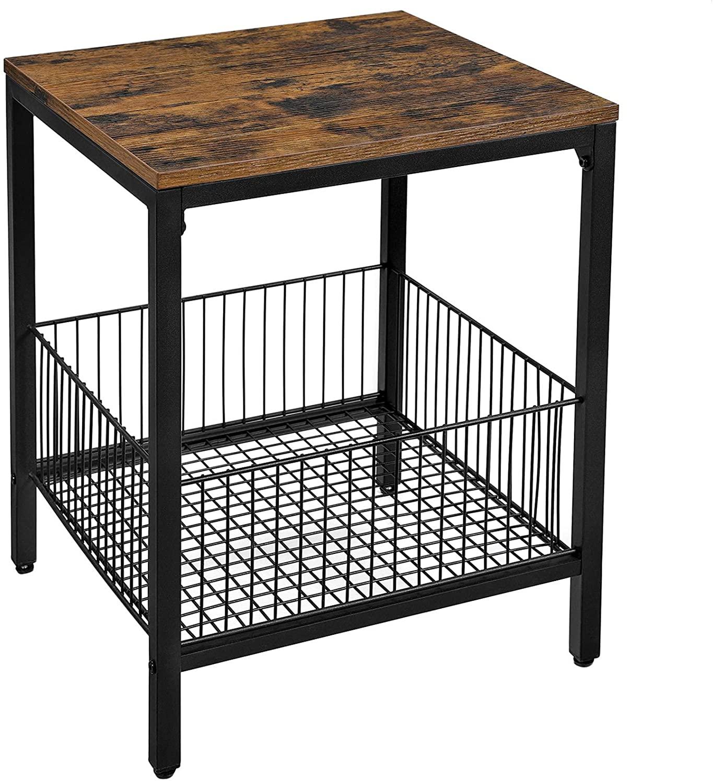 Odkládací stolek Esra, 50 cm, hnědá / černá