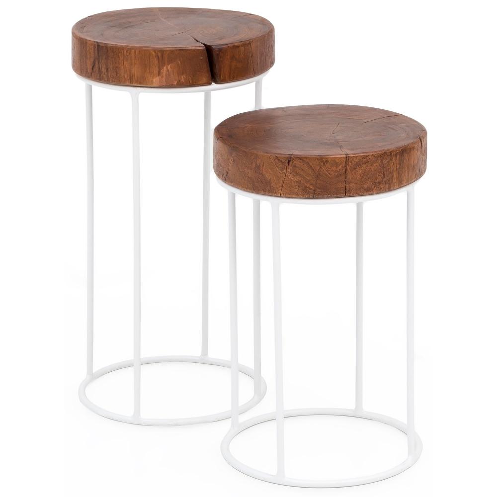 Odkládací stolek Ferit (SADA 2 ks), 58 cm, masiv Sheesham