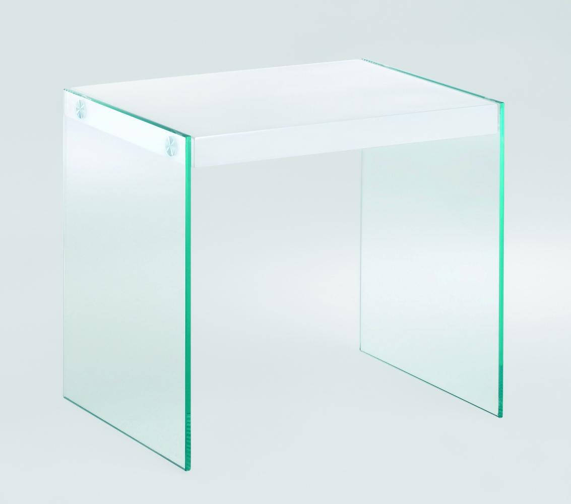 Odkládací stolek Gero, 35 cm, bílá / čirá