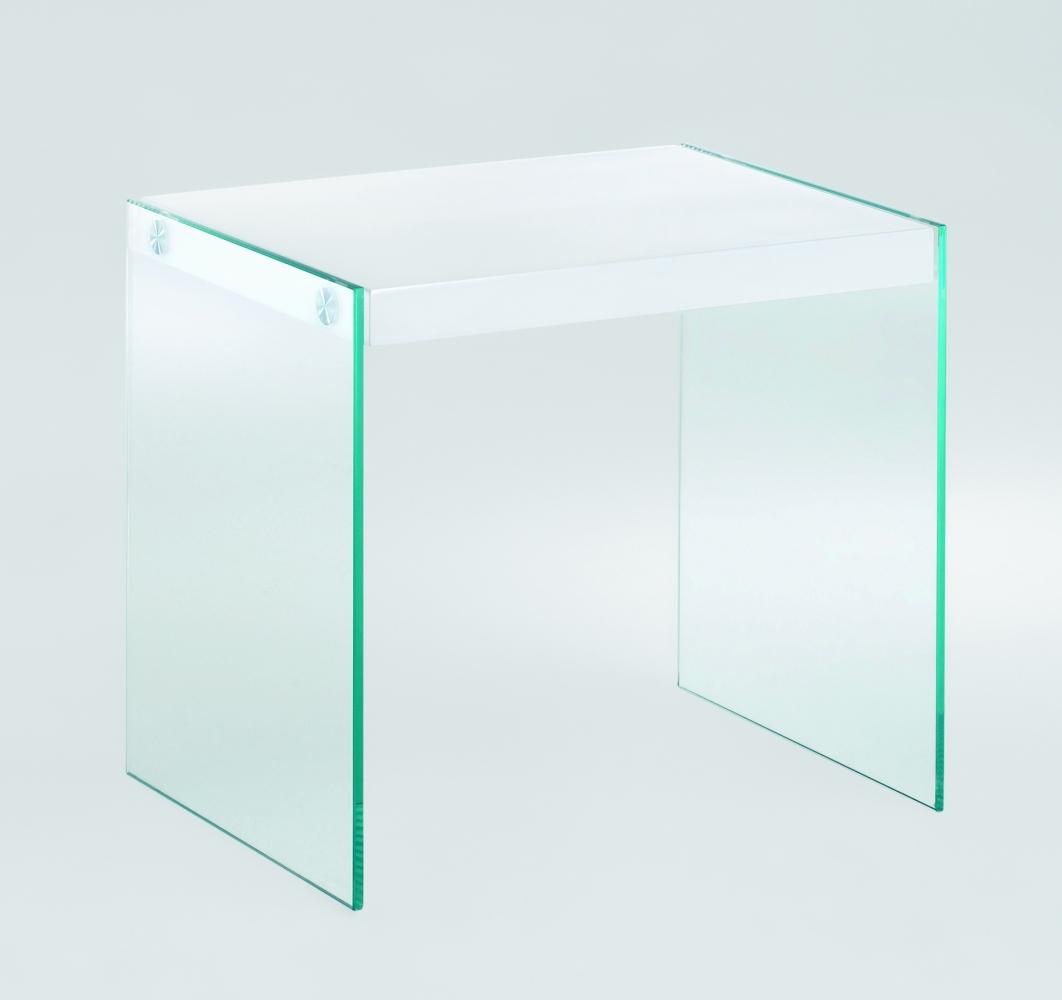 Odkládací stolek Gero, 43 cm, bílá / čirá