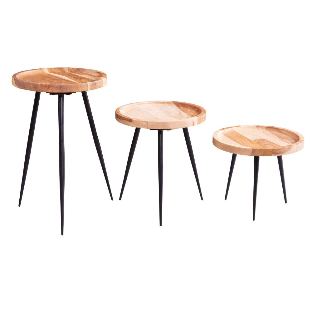 Odkládací stolek Hermina (SADA 3 ks), akát