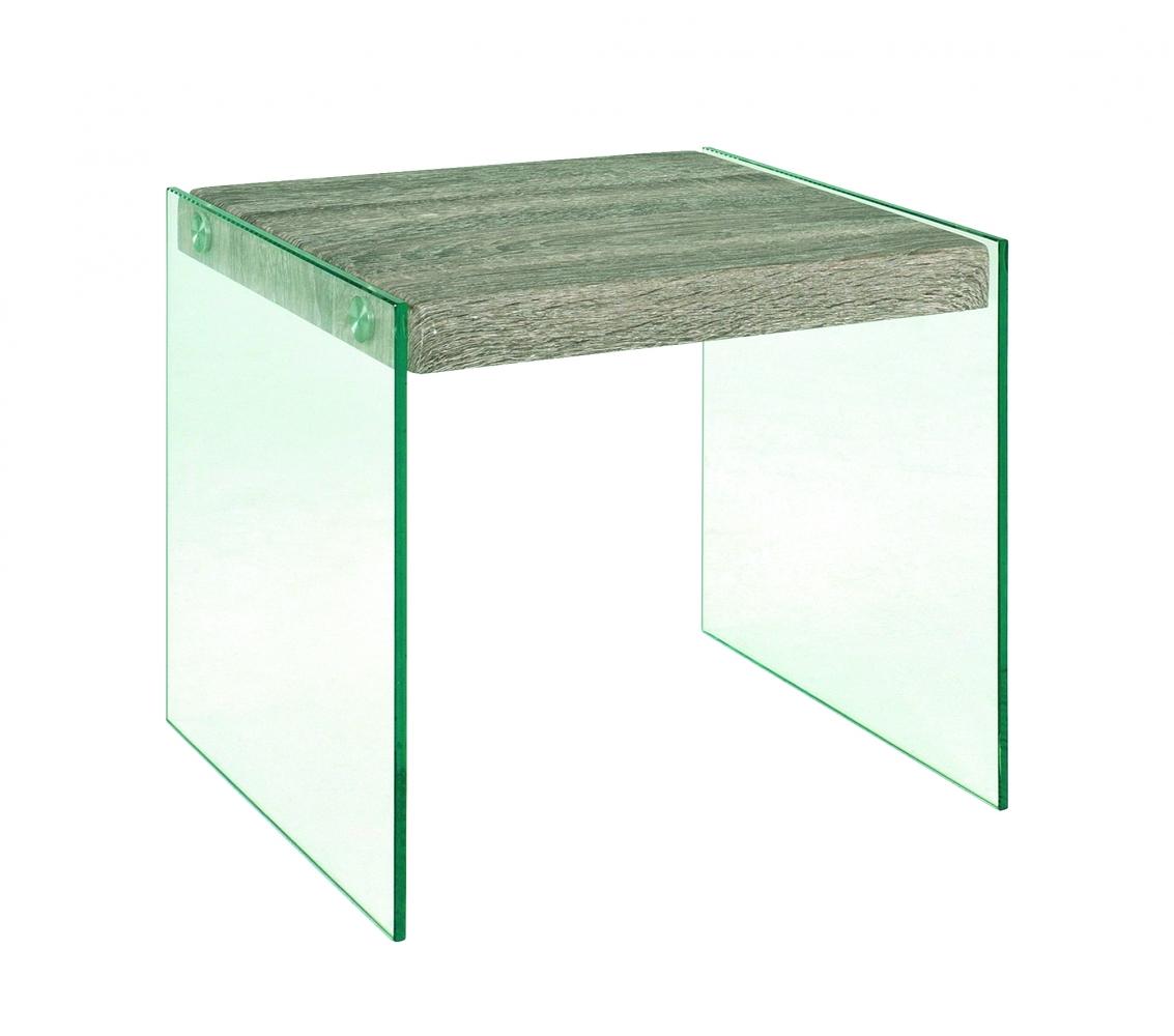 Odkládací stolek Heron, 35 cm, čirá / dub