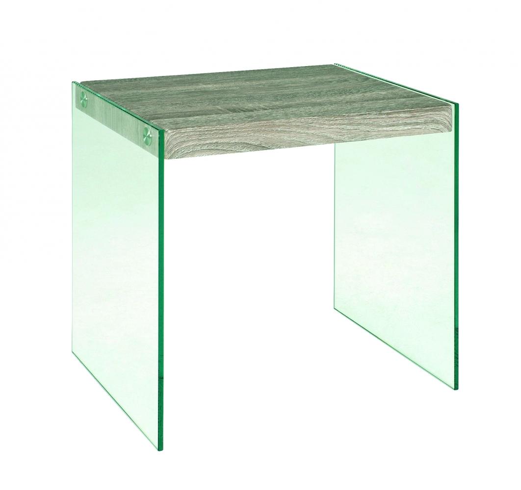 Odkládací stolek Heron, 43 cm, čirá / dub