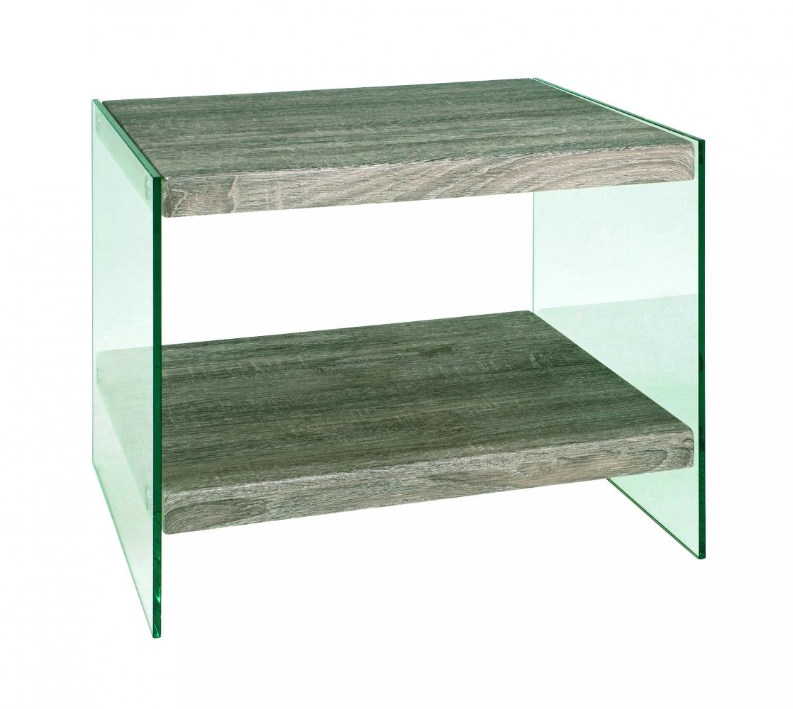Odkládací stolek Heron, 45 cm, čirá / dub