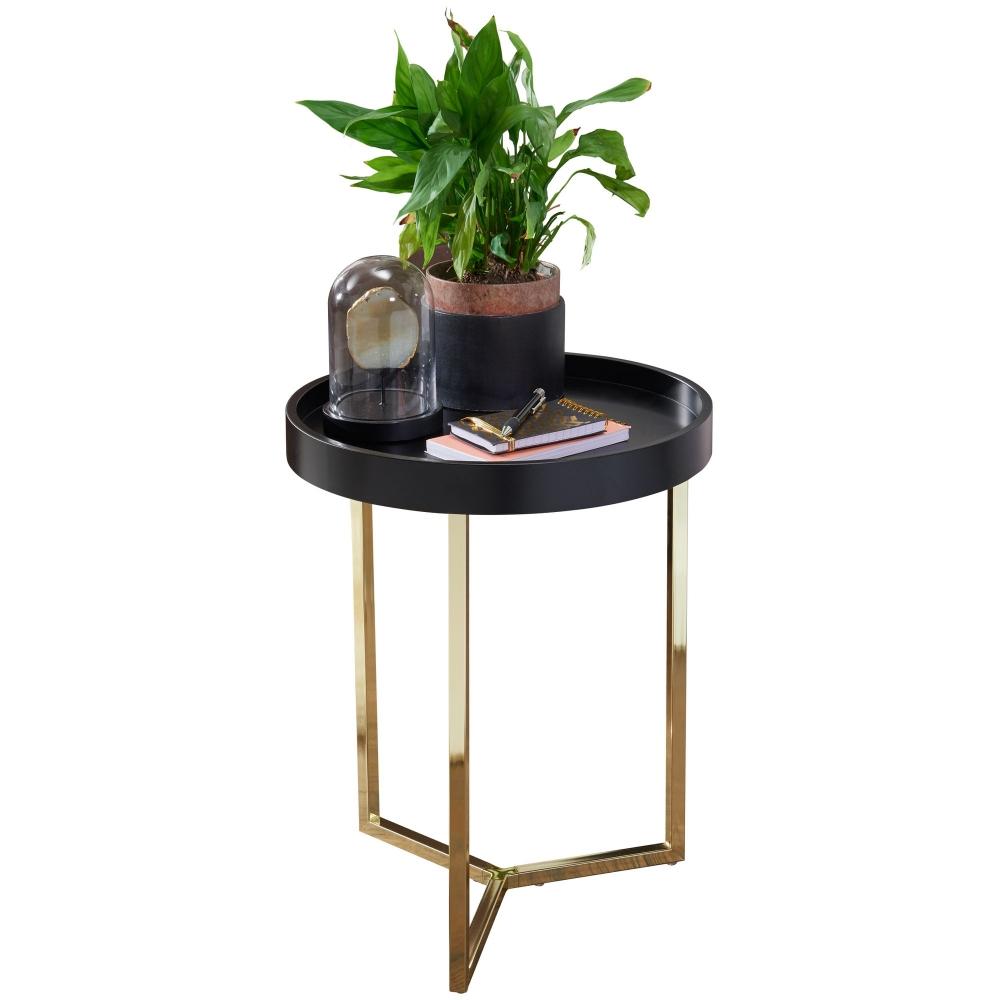 Odkládací stolek Hira, 51 cm, černá / zlatá