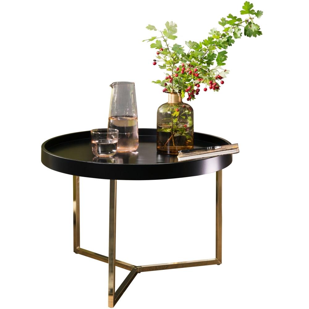 Odkládací stolek Hira, 58,5 cm, černá / zlatá