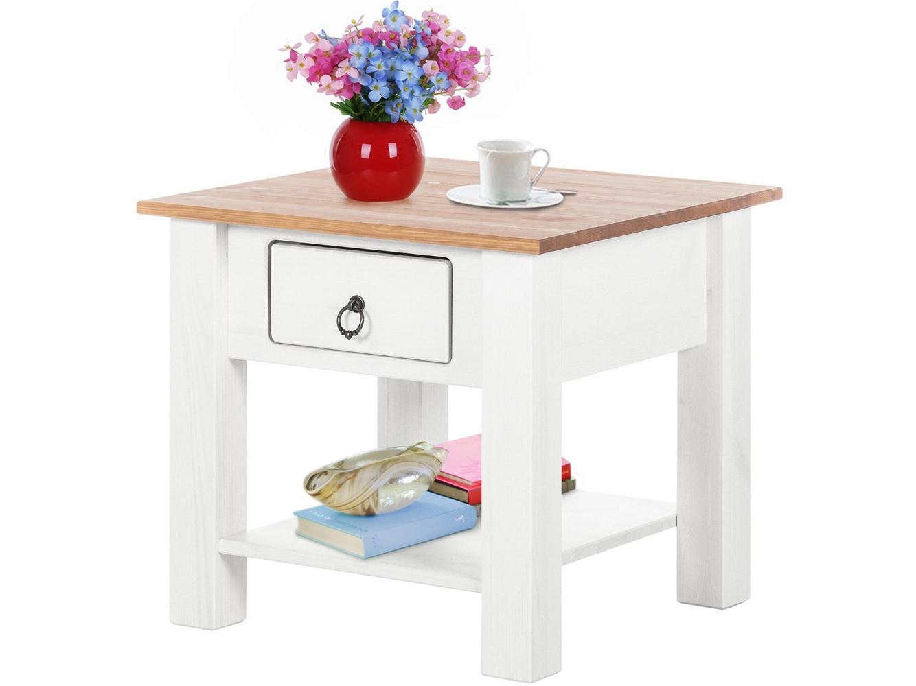 Odkládací stolek Inge, 50 cm, bílá