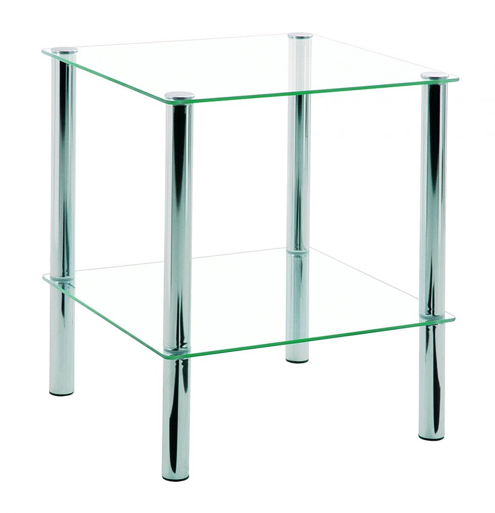 Odkládací stolek Jaylen I., 47 cm, čirá / chrom