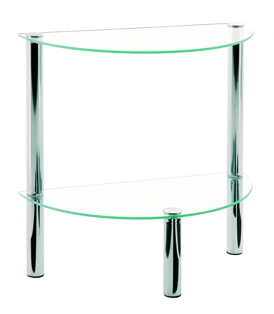 Odkládací stolek Jaylen II., 47 cm, čirá / chrom