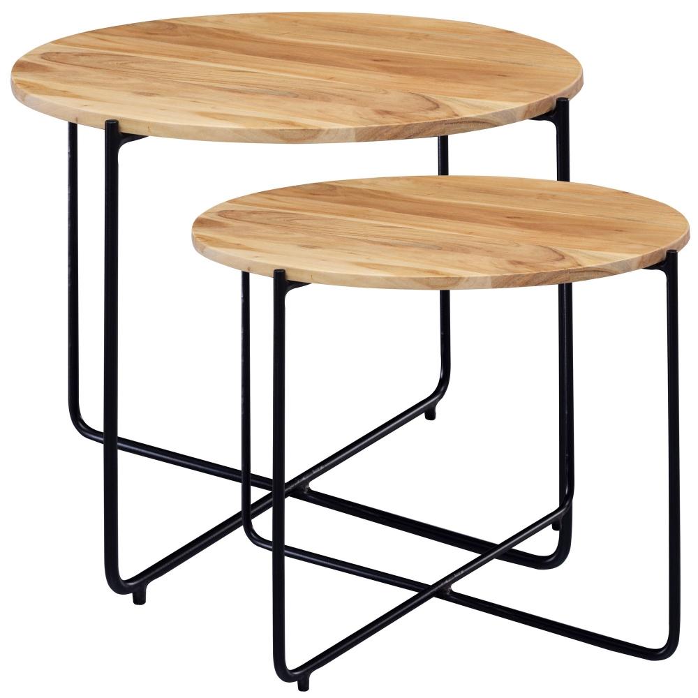 Odkládací stolek Lenora (SADA 3 ks), akát
