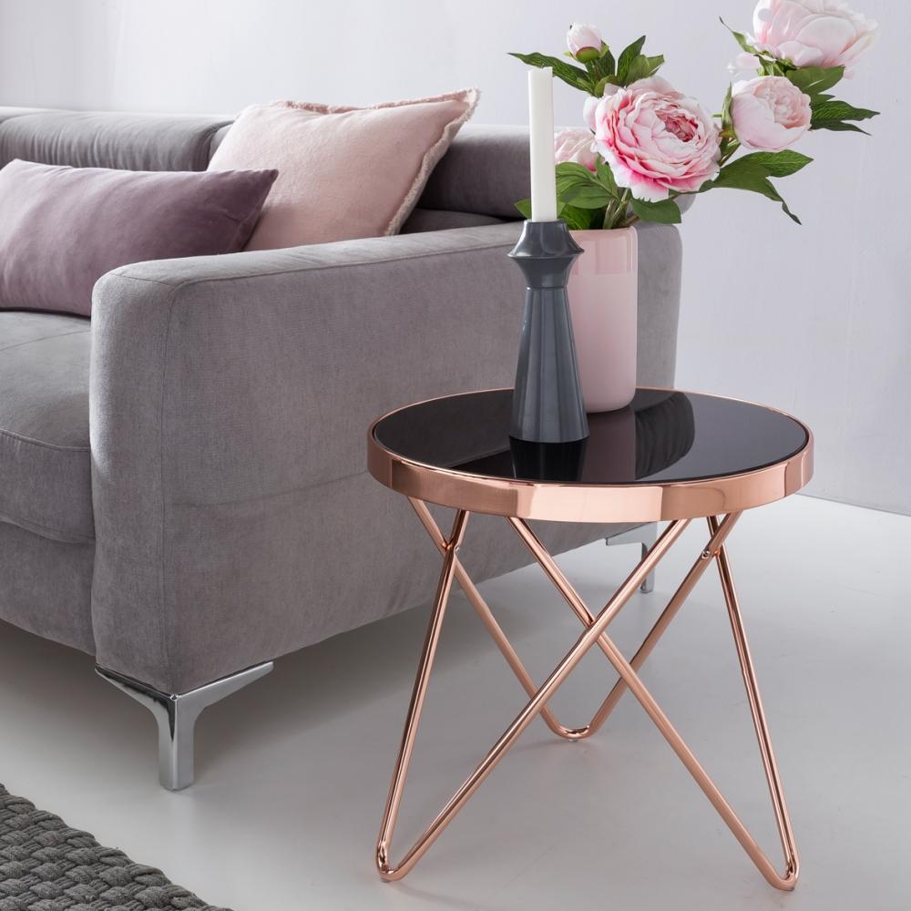 Odkládací stolek Lola, 42 cm, černá / měděná