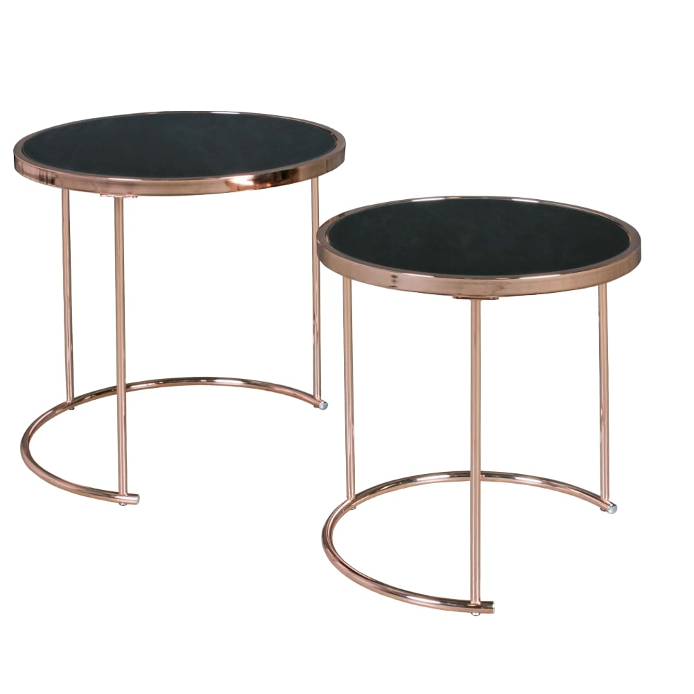 Odkládací stolek Lola (SADA 2 ks), 50 cm, černá / měděná