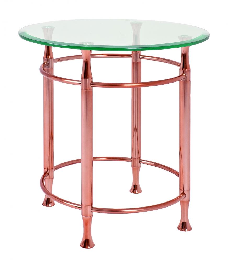 Odkládací stolek Maddux, 52 cm, čirá / měděná