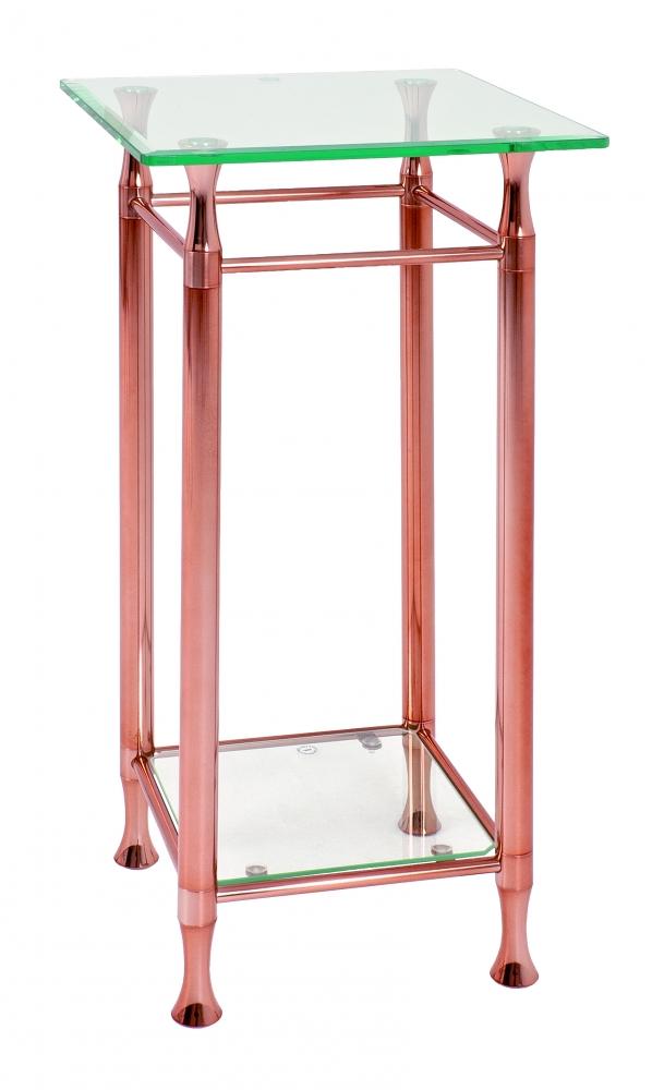 Odkládací stolek Maddux, 72 cm, čirá / měděná