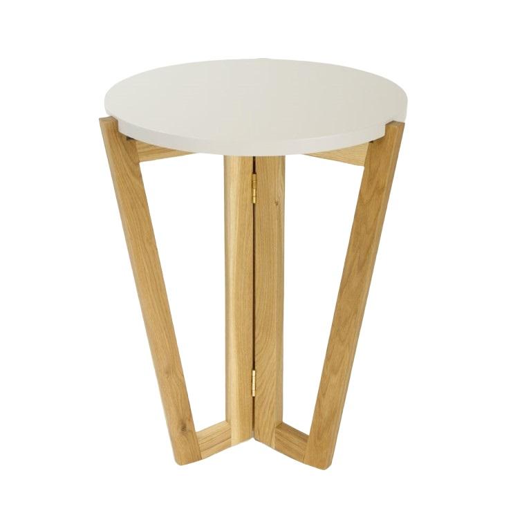 Odkládací stolek Mollen, 45 cm, dub/bílá